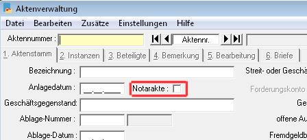 Aktenanlage: Festlegung Notariat